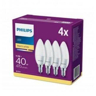 Philips LED 40 watt kerte - frostet - 4 stk. pakke