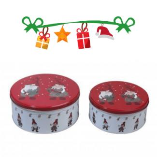 Kagedåser med nisser - 2 stk. i et sæt - Julepynt